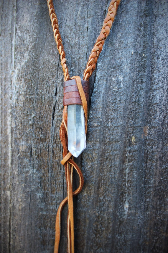 Natural Raw Clear Quartz Leather Necklace