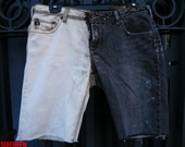 Upcycled 'Silver' Sideways Ombre JEAN SHORTS