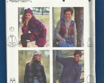 Simplicity 9147 Vests Jackets Coats & Stocking Cap for Kids Size 12  14  UNCUT