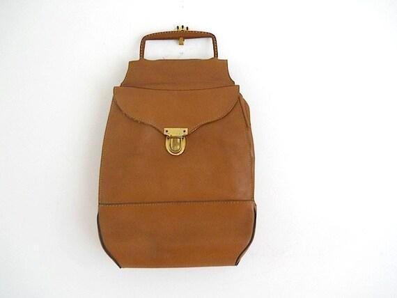 Vintage Leather Bag, Handbag VIntage, Ammunition Bag, Straddle Bag, Made In Switzerland, Brass Hardware, Mid Century