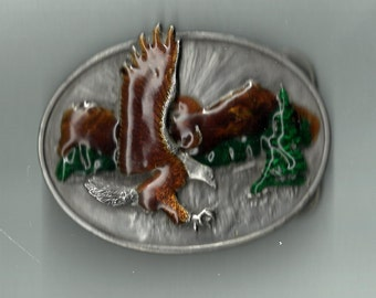 Siskiyou eagel enamalled belt buckle.