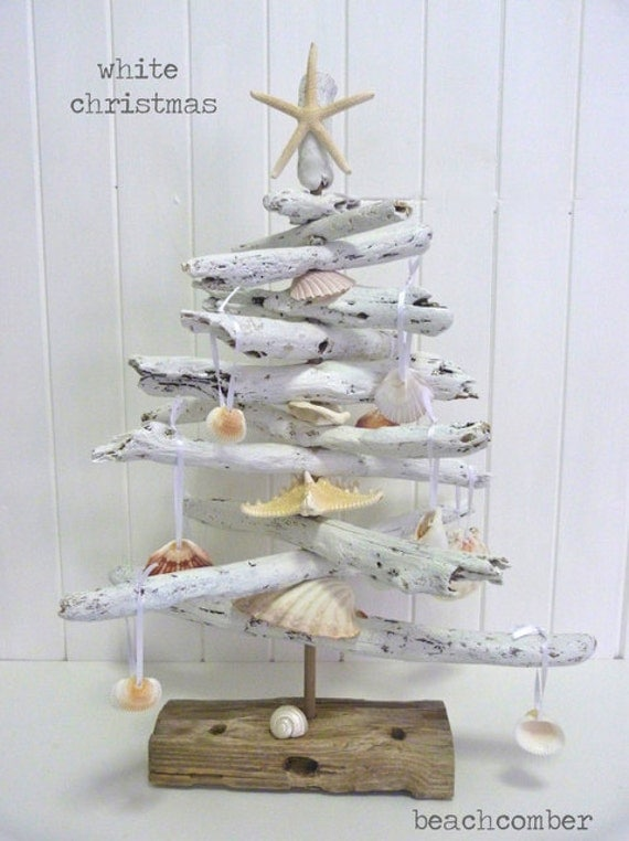 White Driftwood Christmas Tree With Shell Decorations