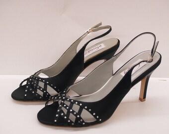 Sale BLACK Heels Retro SIZE 8.5 READY, Black Satin Slingback, Peep Toe Cutouts, Bling, Special Occasion Evening Shoes, Black Heels, Open Toe