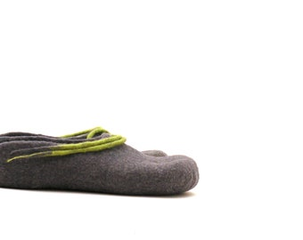 Women felted wool slippers - handmade wool clogs - grey green felt slipper - made to order - Wedding gift