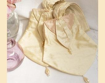 wedding purse, handmade silk purse, cream purse, bridesmaids gift, pearl trim, blush silk, personalised