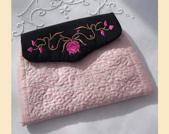 wedding purse in quilted silk with 'flowers and leaves' design, available in sugar pink, violet, almond or pistachio