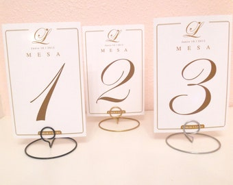 20 wedding round shaped table number holders your choice of color silver gold