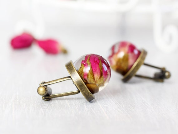 Resin Orb Globe Cuff links - Real flower Cuff links - Real Red Rose Cufflinks
