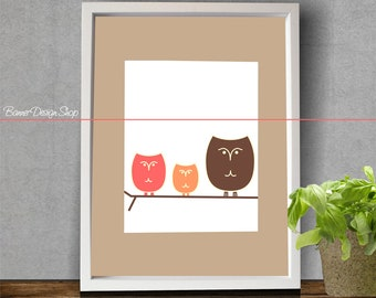Art Print Home Decor Children Nursery Baby Infant Wall Designer Modern Graphic with 3 Color Owls on a Tree Beige Background Funny Color Toy
