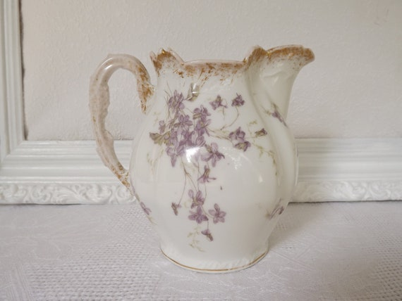 Vintage French Limoges Burley & Tyrrell  White Gold Pitcher With Violets Circa 1890-1910
