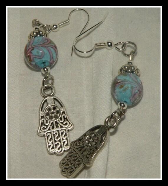 Hamsa hand earrings 2