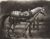 Storm Charger - horse in Renaissance medieval armor - 13 x 19 art print of a charcoal drawing - equestrian art