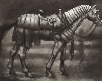 Postcard - Storm Charger - horse in Renaissance medieval armor - mini art print of a charcoal drawing - equestrian art