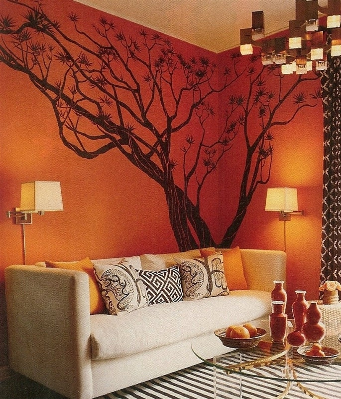 Tree wall decals wall stickers maple tree wall decals giant - Burnt orange feature wall living room ...