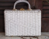 vintage white basket weave wicker purse made in hong kong