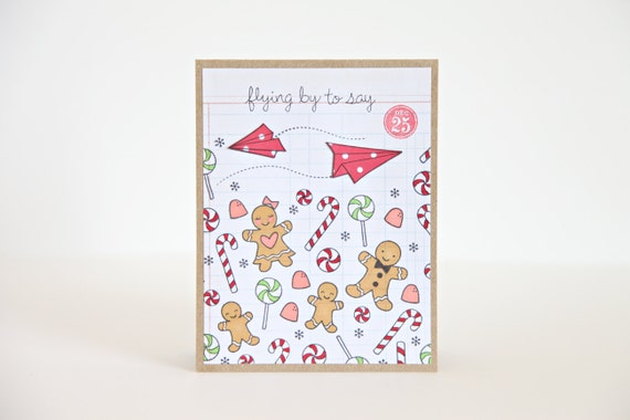 Christmas Card, Greeting Card, Holiday Greetings, Gingerbread Men, Sweet Christmas, Single Card