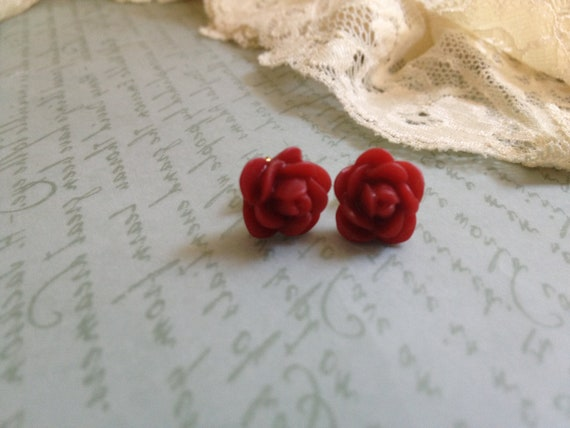Red Mini Rose Cabochon Post Earrings - Primary Collection - Gold/Silver