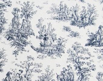 Classic Jamestown Navy Toile Decorator Fabric  - one yard