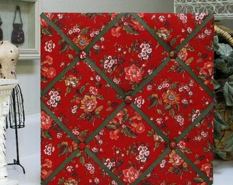 "Red Floral 14""x14"" Fabric Covered Memo Board"