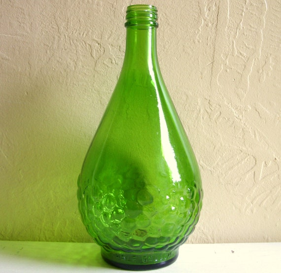Large Green Glass Bottle Grapes Relief Tall Vase Half Gallon
