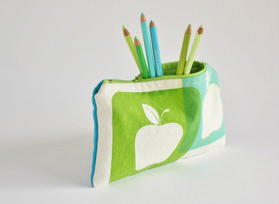 Apples PENCIL POUCH  back to school, fabric zipper pouch hand printed apples, turquoise and green  makeup pouch, printed zipper pencil case