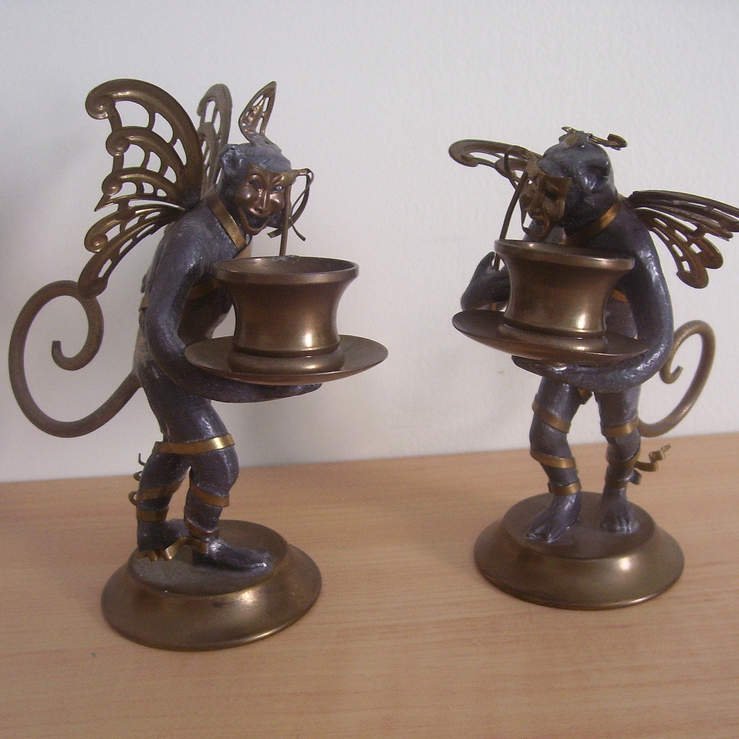 Unique flying monkey candle holders with by thenuthatchvintage for Creative candle holders