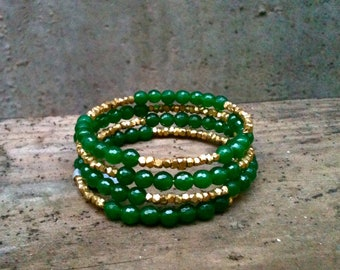 Jade Wrap Bracelet / Green & Silver or Gold