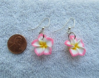 20mm Hawaiian White Plumeria Frangipani Polymer Clay Dangle Earrings with Bubblegum Pink Tips and a Yellow Center