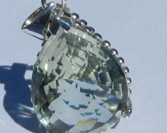 Natural 17.80 Carat Green Amethyst & Diamond Pendant 925 Sterling Silver