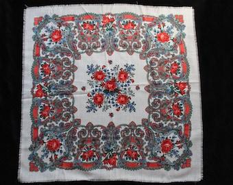 Vintage Large White & Floral Pattern Scarf