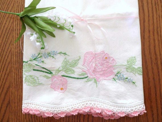 Pink Rose Pillowcase, Hand Embroidered Pillow Cover