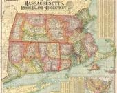 Massachusetts 1900 - Antique Map Rhode Island & Connecticut. Printable Map. Instant digital download.