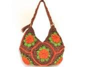 Happy Holidays - 15 Percent OFF- Handmade Brown Orange Flowered Crochet Bag / Cross-Body Bag