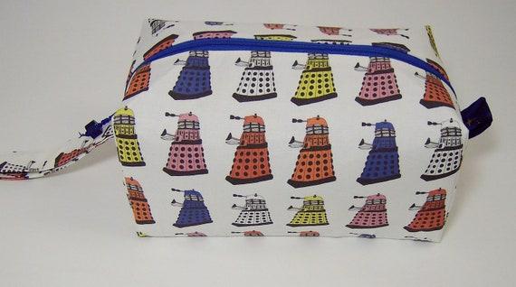 Small Zippered Project Bag - Rainbow Daleks
