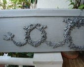 Large Gustavian grey,French shabby chic,three roses wreaths,swags & cherubs wooden pediment.