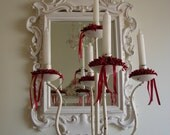 French shabby chic,vintage chippy white,wrought iron,floor-standing candelabra,5'3''/1.6 m 5 candles.