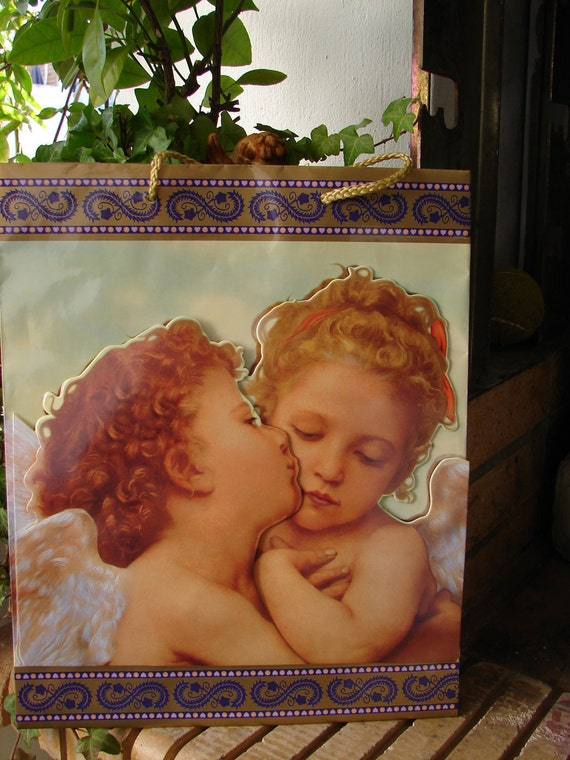 Vintage,large cherub/putti paper bag-3d image can be removed-French shabby chic.