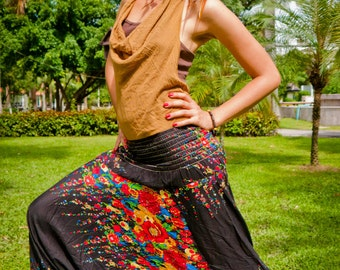 Thai Harem Pants in Cotton, Black w Red, Ochre & Blue Floral Print -- Aladdin Pants -- Women's Harem Pants -- Drop Crotch Style