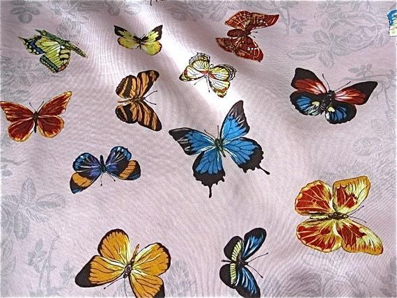 Kreier Swiss Butterflies on Pink Silk Vintage Scarf Slight Vintage Flaws