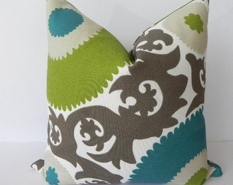 Suzani BOTH SIDES 20X20 Pillow Cover-Fahri-Indoor-Outdoor-Designer Home Decor Fabric-Throw Pillow-Accent Pillow-Living Room Pillow-Teal-Lime