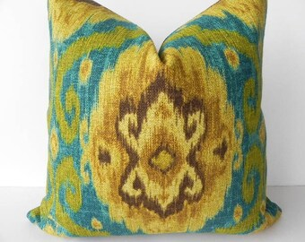 Iman Decorative Pillow 20X20-Both Sides-Designer Home Decor Fabric-Throw Pillow-Accent Pillow-Couch Pillow-Teal Blue-Green