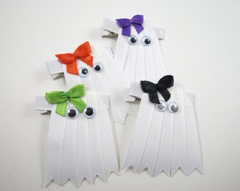 Halloween Ghost Hair Clip - Halloween Ribbon Sculpture Hair Clip - White Hair Clip - YOU PICK ONE - Custom Bow Color