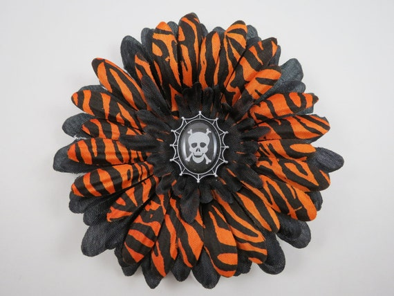 Skull Flower Hair Clip - Halloween Hair Bow - Orange and Black Hair Bow - Skeleton Hair Clip