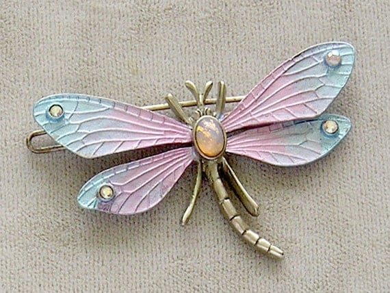Graziano Dragon Fly Dragonfly Enameled and Jeweled Hair Clip