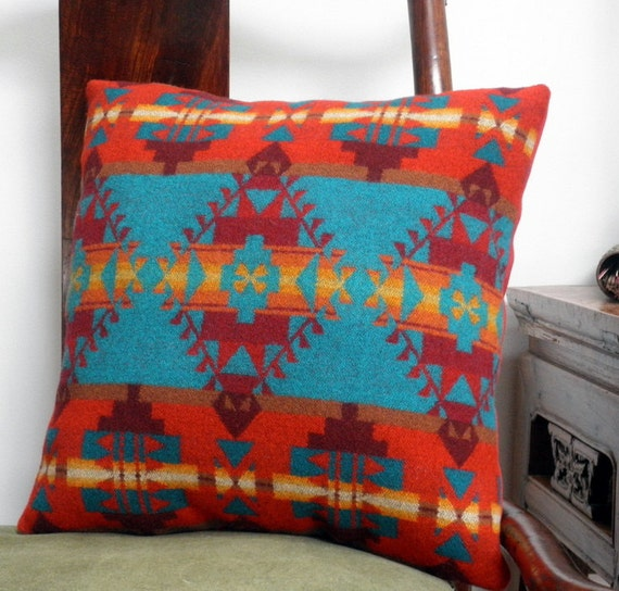 Navajo throw pillow Pendleton wool tribal meets bright