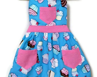 Turquoise Apron, Children's Apron, Toddler Apron, Girl's Apron, Baking Apron, Cooking Apron, Cupcake Apron, Kid's Apron, Little Girl's Apron