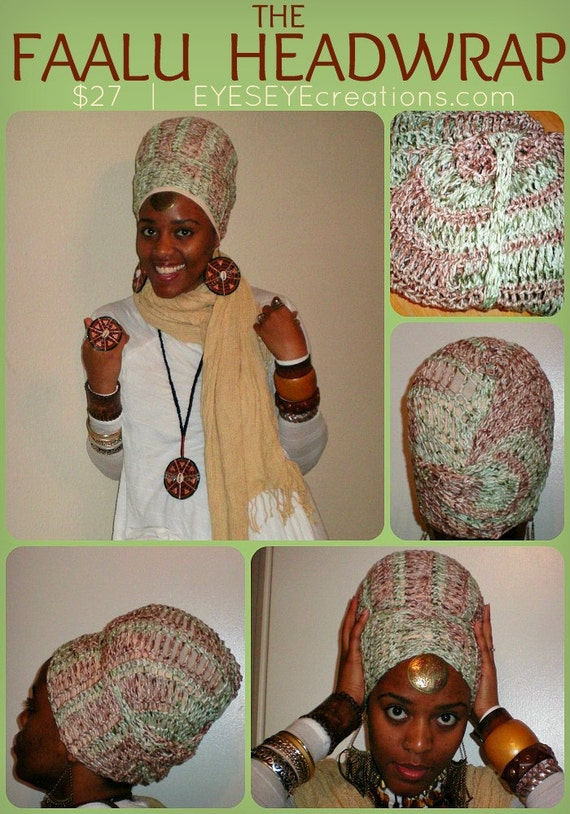 The FAALU HEADWRAP - crochet 100% cotton headwrap for dreadlocks long hair (How-to wrap video included)