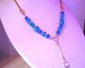 Sea Green Pebble Turquoise Pearl & Dark Blue Crystal Glass Bar Y Necklace by JulieDeeleyJewellery on Etsy