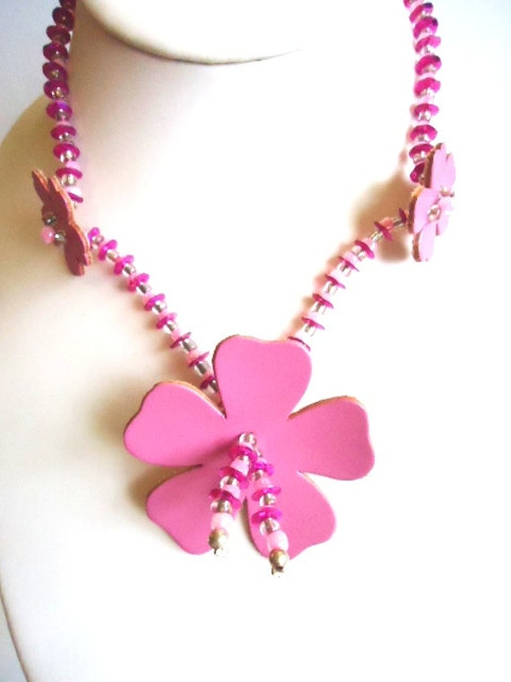 Pink Leather Funky Flower and Sequin Fashion Necklace by JulieDeeleyJewellery on Etsy Ladies Jewelry