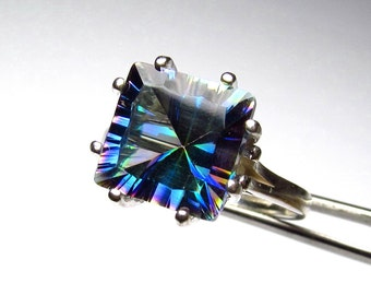 Striking Genuine Magic Blue Quartz in Sterling Silver Ring Size 7